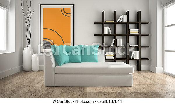 inneneinrichtung, übertragung, modern, 3d, couch - csp26137844
