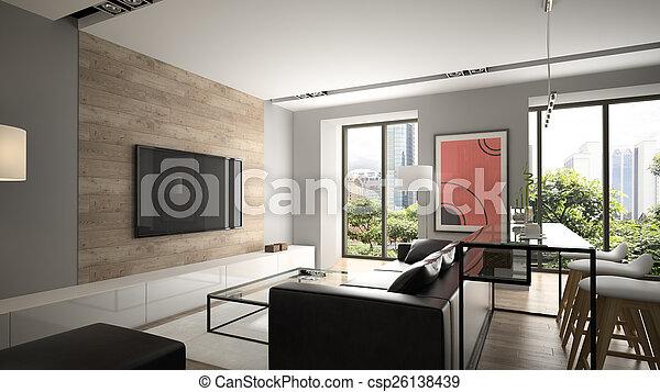 inneneinrichtung, übertragung, modern, design, 3d - csp26138439