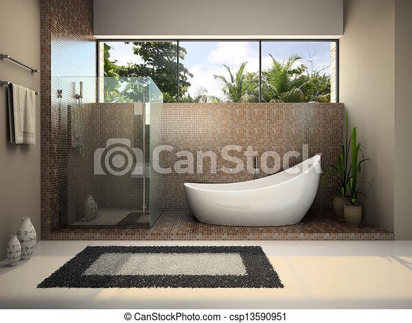 Inneneinrichtung, badezimmer, modern. Inneneinrichtung,... Stock ...