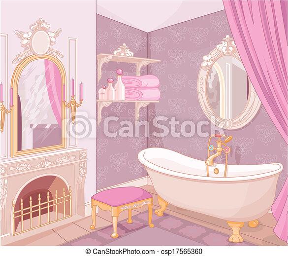 Inneneinrichtung, badezimmer, palast. Badezimmer,... Clipart Vektor ...