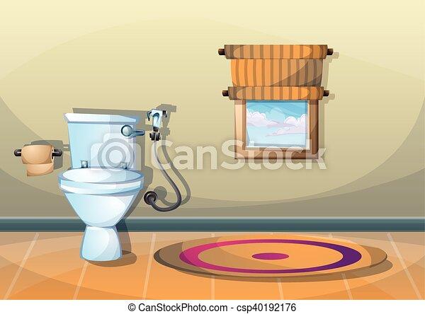 Inneneinrichtung, badezimmer, vektor, karikatur, abbildung ...