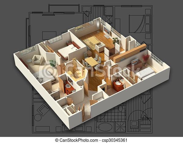 Inneneinrichtung, Haus, 3d, Möbliert   Csp30345361