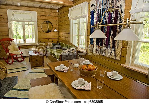 Inneneinrichtung haus skandinavisch sommer finnisch h lzern traditionelle h tte - Haus inneneinrichtung ...