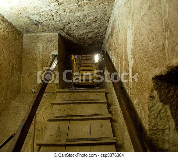 Inneneinrichtung, kairo, pyramide, durchgang. Treppenhaus, pyramide ...