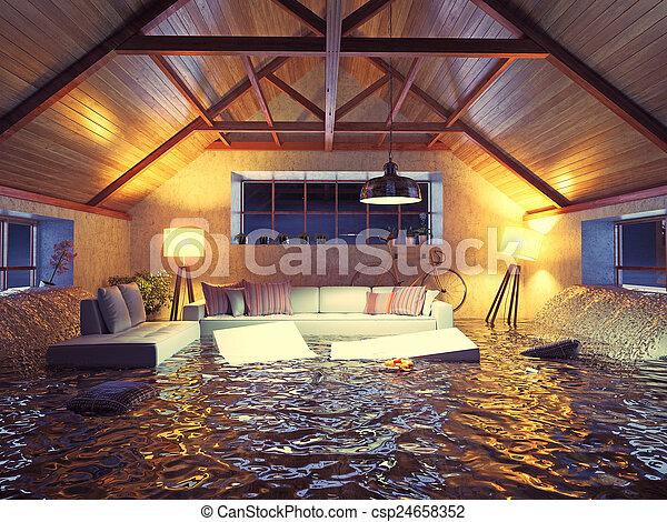 Inneneinrichtung, modern, dachgeschoss. Begriff,... Stockbilder ...