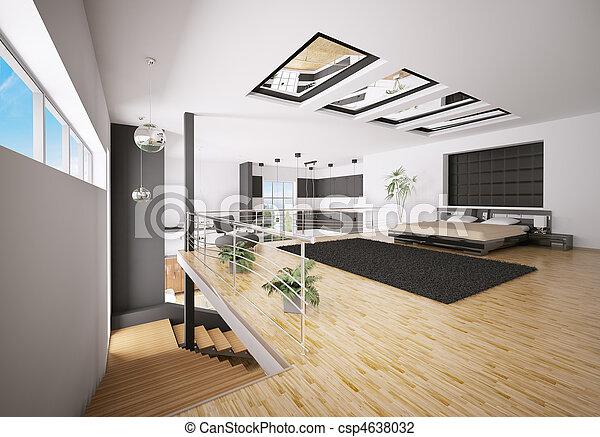 Inneneinrichtung, Modern, Schalfzimmer, 3d Stockfoto