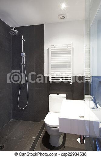 Inneneinrichtung, schwarz, badezimmer, wände, schiefer. Badezimmer ...