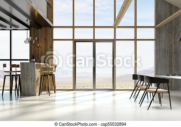 inneneinrichtung, sonnig, dachgeschoss, möbel