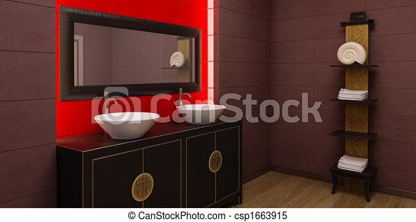inneneinrichtung, stil, badezimmer, asiatisch
