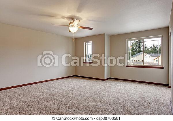 Leeres Zimmer Mit Teppichboden Und Beige Wande