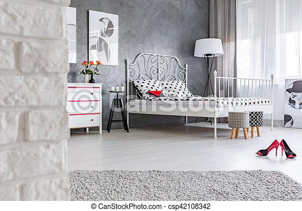 Inneneinrichtung Wand Weisser Ziegelstein Grau Wand Bett