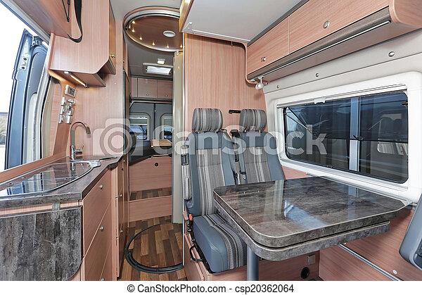Camper Innenraum Kuche Und Esstisch Im Campingwagen