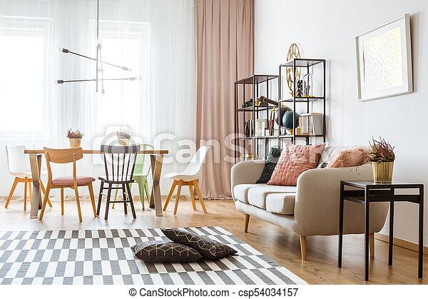 Inneneinrichtung Wohnung Geräumig Nachgebildet Wohnung Kissen