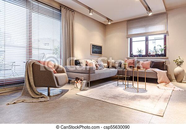 Inneneinrichtung Wohnung Geräumig Grau Wohnung Gold Sessel