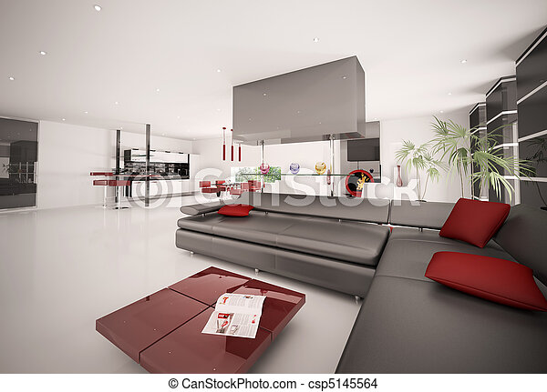 inneneinrichtung wohnung modern render 3d stockfoto fotografien und clipart fotos. Black Bedroom Furniture Sets. Home Design Ideas