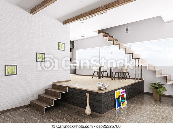 Inneneinrichtung Wohnung Modern Render 3d
