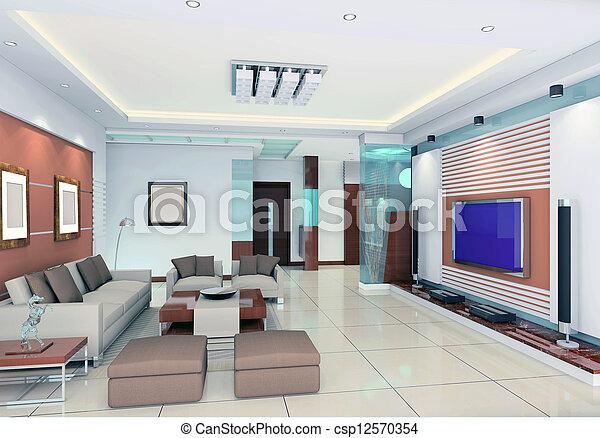 Stock Foto   Inneneinrichtung, Wohnzimmer, Modern, Render, 3d