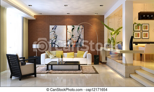 Hochwertig Inneneinrichtung, Wohnzimmer, Modisch   Csp12171654