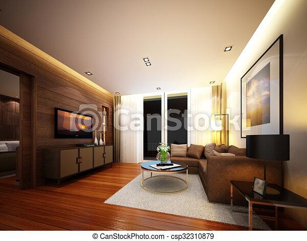 Inneneinrichtung, Wohnzimmer, Render, 3d   Csp32310879