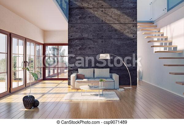 Inneneinrichtung, Wohnzimmer. Schöne , Lebensunterhalt,  Stock