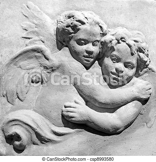 innocent pair of angels in black and white  - csp8993580