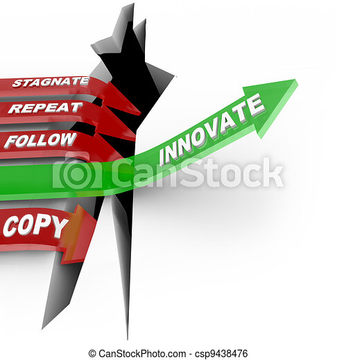 Innovation and Change Beats Stagnation Arrow Jumping Hole - csp9438476