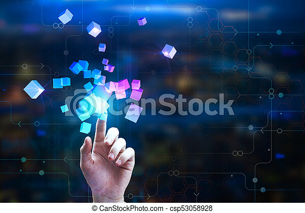 female hand pointing at abstract glowing cubes on blurry circuit