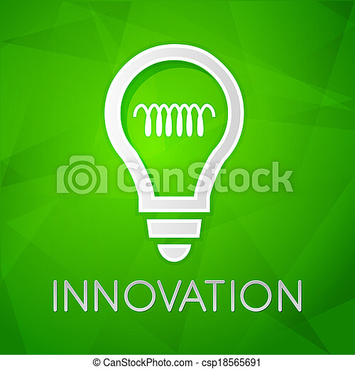 innovation and light bulb sign - text over green background with white  symbol, concept web icon flat design