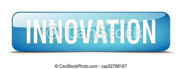 innovation blue square 3d realistic isolated web button - csp32788167