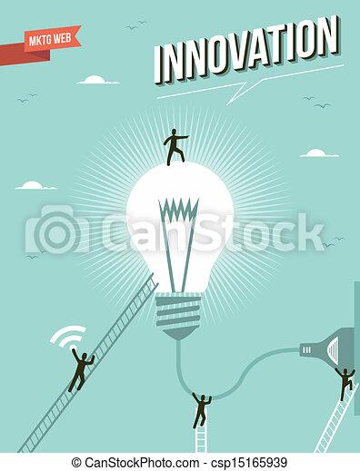 Innovation idea light bulb workgroup illustration. - csp15165939
