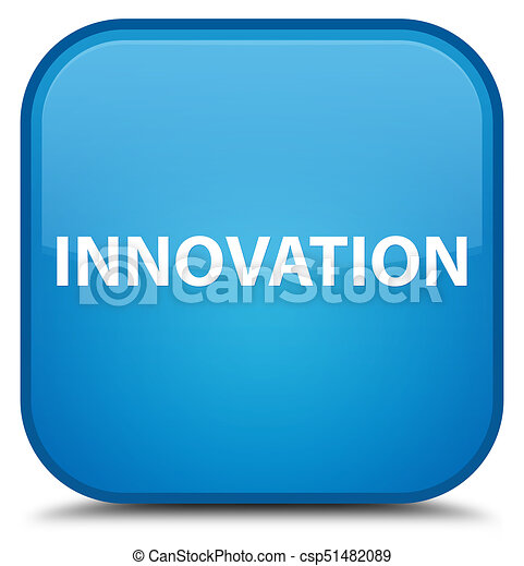 Innovation special cyan blue square button - csp51482089