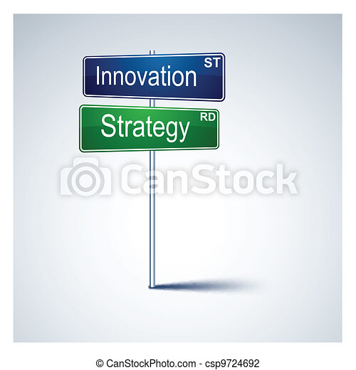 Innovation strategy direction road sign.  - csp9724692