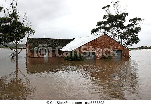inondé, maison, rive - csp6566592