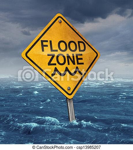 inondation, avertissement - csp13985207