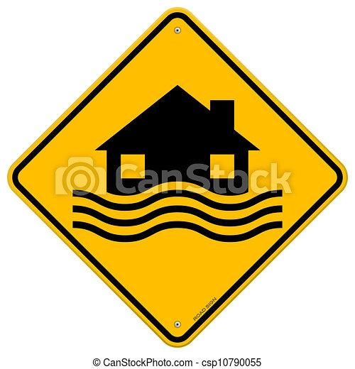 inondation, désastre, signe jaune - csp10790055
