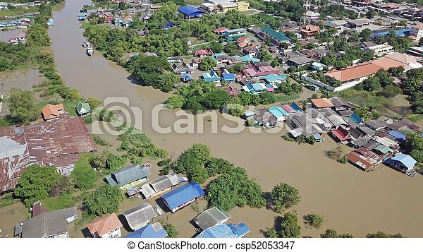 inondation, thailand., vue aérienne - csp52053347