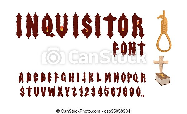 Inquisitor Font Ancient Gothic For Holy Inquisition Medieval Alphabet Letters And Numbers With Fire Of Accessories Hangman