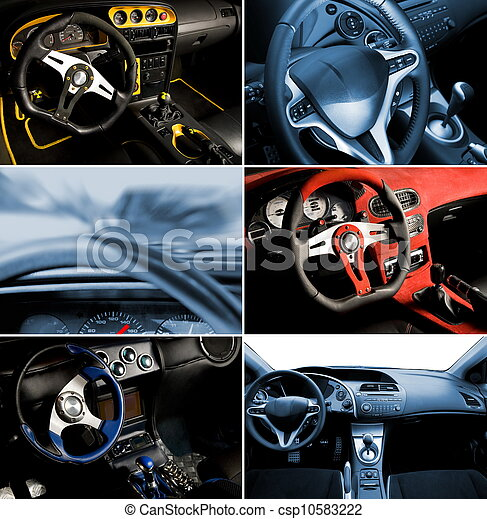 inre, bil, collage, sport - csp10583222