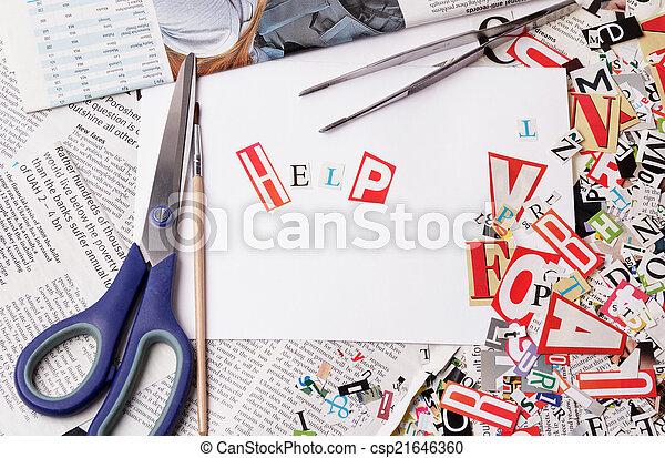 inschrift, gemacht, briefe, hilfe, ausschneiden - csp21646360