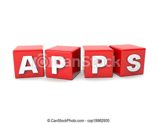 inscripción, cubos, apps, rojo - csp19982930