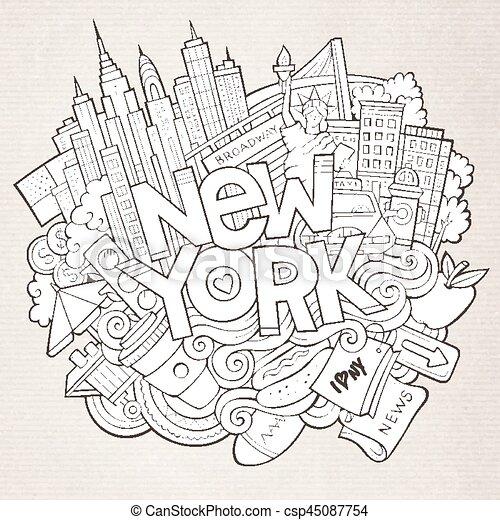 Cartoon lindos garabatos dibujados a mano en Nueva York - csp45087754