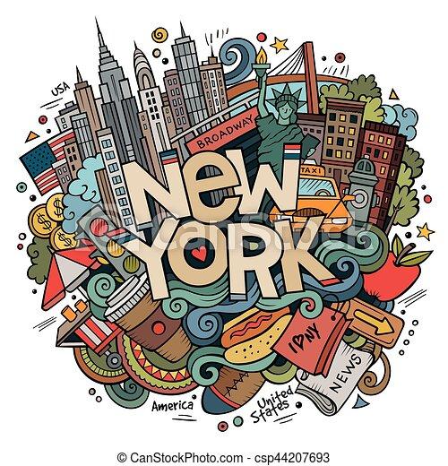 Cartoon lindos garabatos dibujados a mano en Nueva York - csp44207693