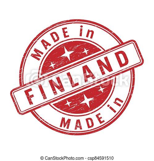 inscripción, impresión, sello, hecho, finlandia - csp84591510