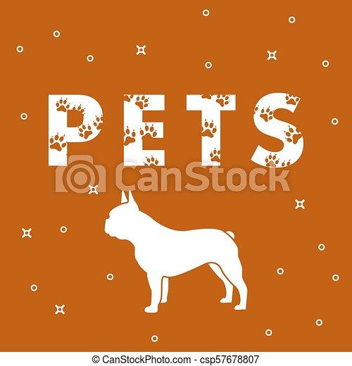 Perro y mascotas de inscripción con rastros. - csp57678807