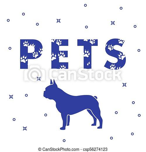 Perro y mascotas de inscripción con rastros. - csp56274123