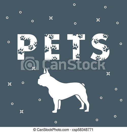 Perro y mascotas de inscripción con rastros. - csp58348771