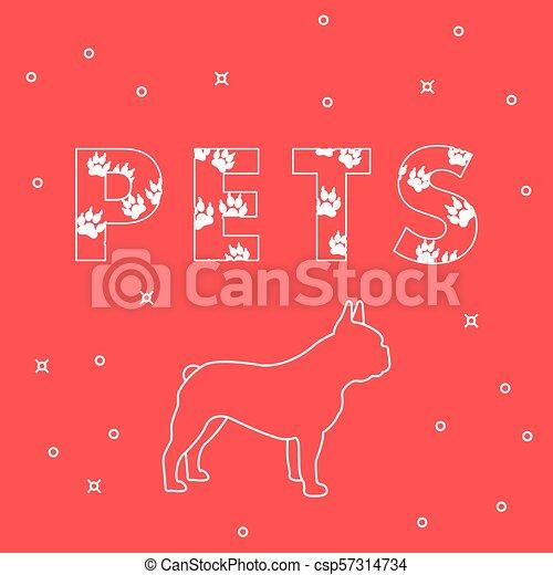 Perro y mascotas de inscripción con rastros. - csp57314734