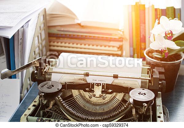 inscriptie, gemaakt, oud, beste; geachte, typemachine, reader:vintage - csp59329374