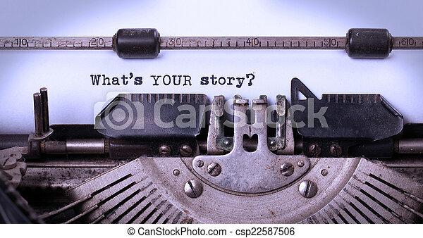 inscriptie, gemaakt, oud, typemachine, ouderwetse  - csp22587506