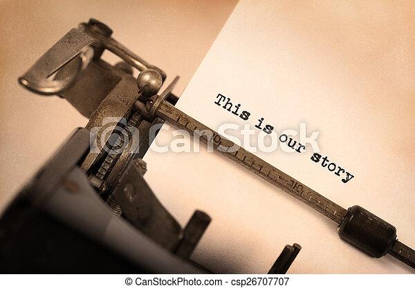inscriptie, gemaakt, oud, typemachine, ouderwetse  - csp26707707